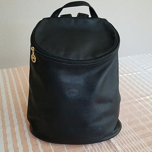 Longchamp Black Leather Backpack w/ Gold Hardware